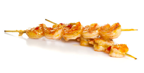 Shrimp shashlik isolated on white background