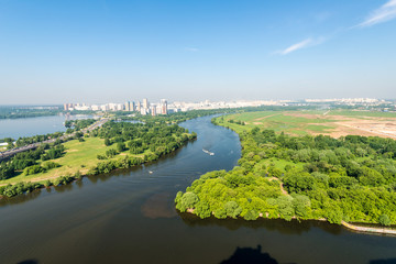 View of the Moscow park and the river in the summer