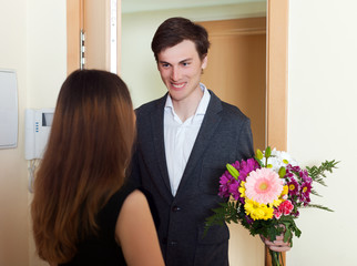 Woman get bunch of flowers from her husband