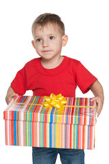 Pensive little boy holds a gift box