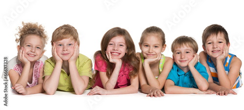 Fototapeta Six happy children