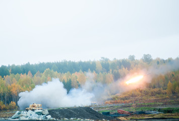 Rocket launch by TOS-1A system