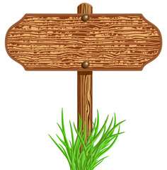 Wooden signboard and grass