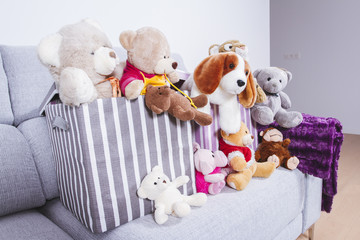 Stuffed animal toys in interior room