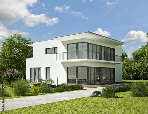Leinwanddruck Bild Modernes weisses Haus