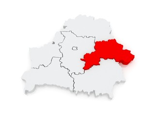 Map of Mogilev region. Belarus.