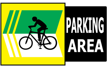 Parking Area Bicycle Sign Label
