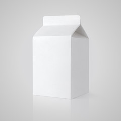 White blank milk carton package on gray with clipping path