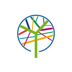 Logo colorful tree, forestry companies