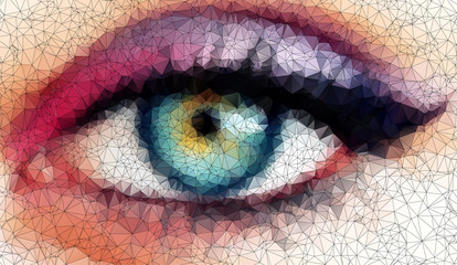 beautiful eyes in geometric styling abstract background  stained