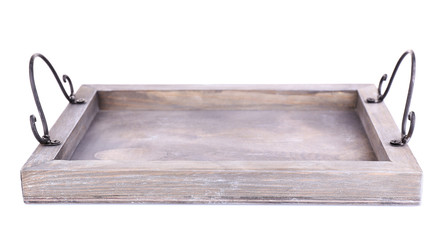 Decorative old wooden tray, isolated on white