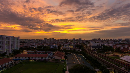 Time Lapse of Sunrise and Auto Traffic in Eunos in Singapore