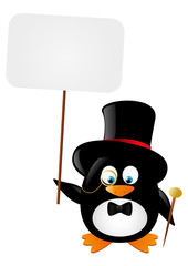 Funny gentleman penguin with paper card