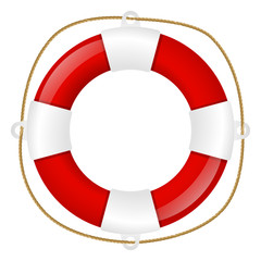 Red lifebuoy isolated on white