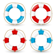 Set of lifebuoy icons on white