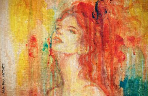 Keuken foto achterwand Aquarel Gezicht abstract watercolor ,woman portrait