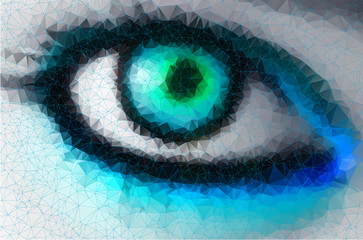bright eye in geometric styling abstract background  stained