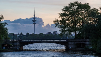 Hamburg Alster Tv-Tower hyper lapse