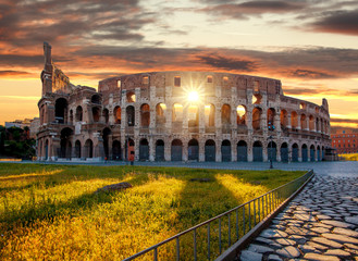 Colosseum against sunrise time in Rome, Italy