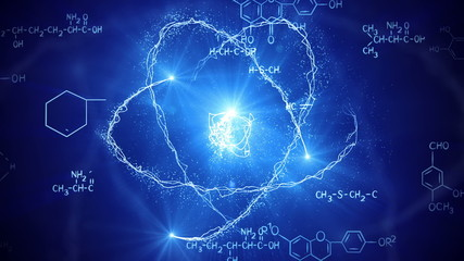 shiny atom model and chemistry formulas loopable