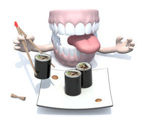 open denture and sushi plate