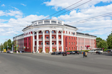 The building in the Soviet architecture