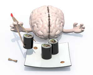 brain and sushi plate