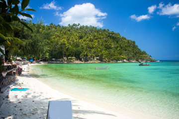 Tropical beach at Koh Phangan - nature background. Thailand