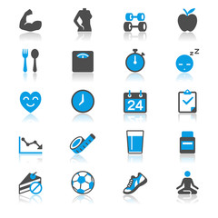 Health care flat with reflection icons