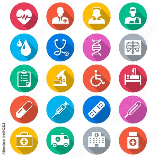Zdjęcia na płótnie, fototapety, obrazy : Health care flat color icons