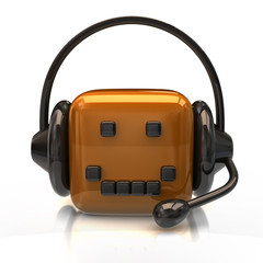 Support icon. Orange cube with headset.