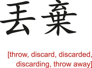 Chinese Sign for throw, discard,discarded,discarding,throw away
