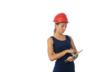 Young female engineer holding a digital tablet.