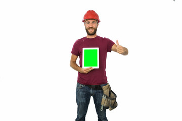 Portrait of a Manual worker showing his digital tablet