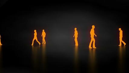 Walking orange people
