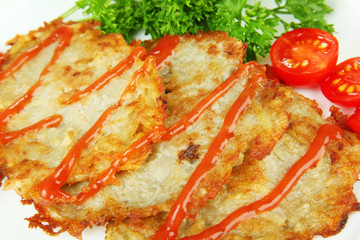 Potato pancakes on plate, close-up