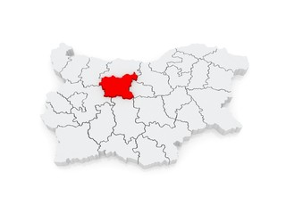 Map of Lovech Province. Bulgaria.