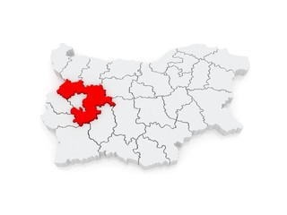 Map of Sofia region. Bulgaria.