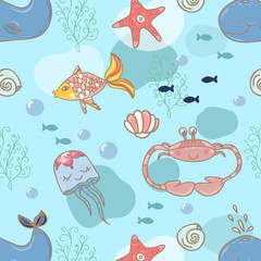 Cartoon marine seamless pattern for design