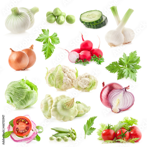 Collections of vegetables isolated on white background