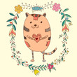 Card with cute cat in decorative floral elements