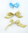 Color gift satin ribbon bows, isolated on white