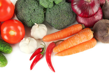 Composition of different vegetables close up