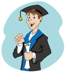 Individual graduate with diploma
