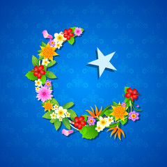 Floral crescent moon of Eid