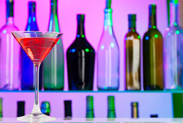 Cocktail silhouette on the left side of bar