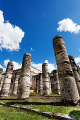 Temple of Thousand Warriors columns Itza Mexico