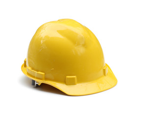 Old hard hat isolated on white background