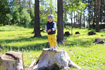 happy baby on stub in forest