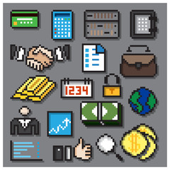 Digital Pixel Financial Icons Set
